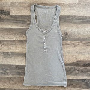 Aerie Nude Button Down Tank Top